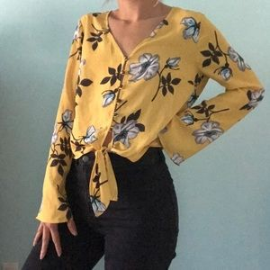 Yellow Floral Tie Blouse